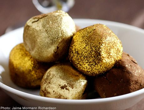Gold chocolate truffles... yum.