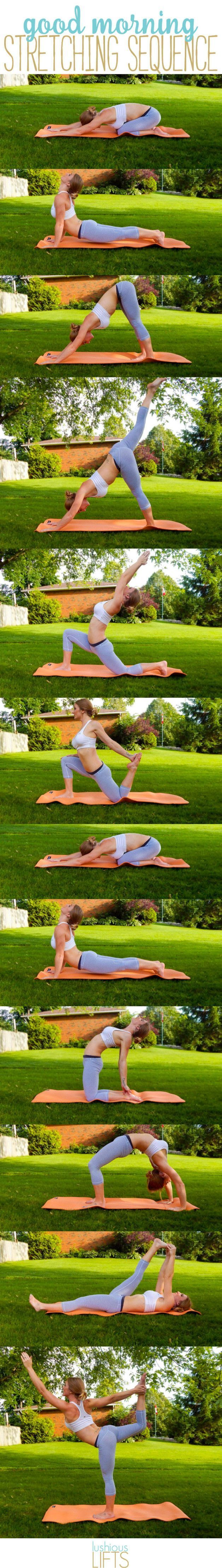 Good morning yoga stretching sequence. Try these stretches to help wake you up and energize you for the day!
