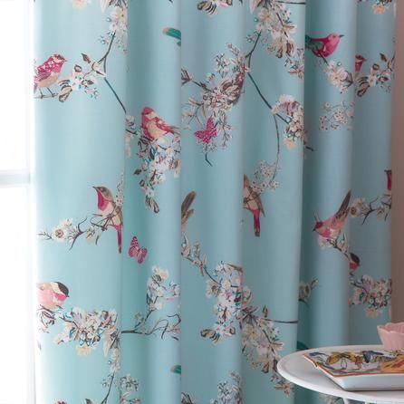 Duck Egg Beautiful Birds Thermal Pencil Pleat Curtains   Dunelm Mill How pretty are these and what a gorgeous colour!