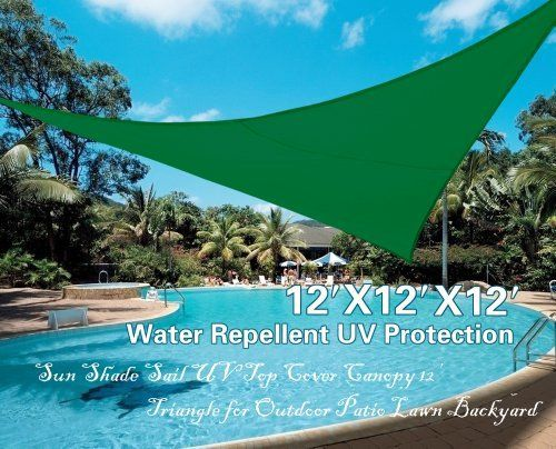 STRONG CAMEL Sun Shade Sail UV Top Cover Canopy 12¡¯ Triangle for Outdoor Patio Lawn Backyard-GREEN by Strong Camel. $34.99. Effective Harmful UV Blocking?Blocks 95% UV Rays?Size: 12'X12'X12'?With 3 metal rings and nylon rope packed in bag?. Applicable for All Season--mildew and mold resistance?Lightweight and foldable design making it easy for storage?. Simple installation- Easily installs and detached to existing structures or support poles. Color: sand, red, blue, green?A...