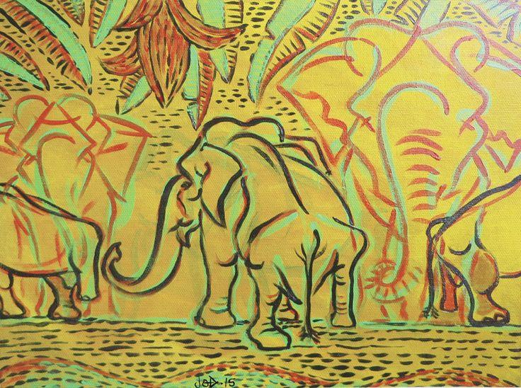 Elephant Painting on Canvass - Medo