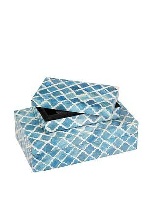 Purva Nested Damask Bone Boxes, Turquoise