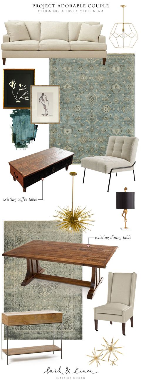 Rustic Glamorous Living Room And Dining