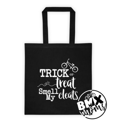 """This cotton canvas tote bag isperfect for the kiddo that wants to hit halloween in their BMX gear.  • 6 oz, 100% cotton canvas • 22"""" dual handles • Dimensions: 14 ½"""" x 15 ½"""""""
