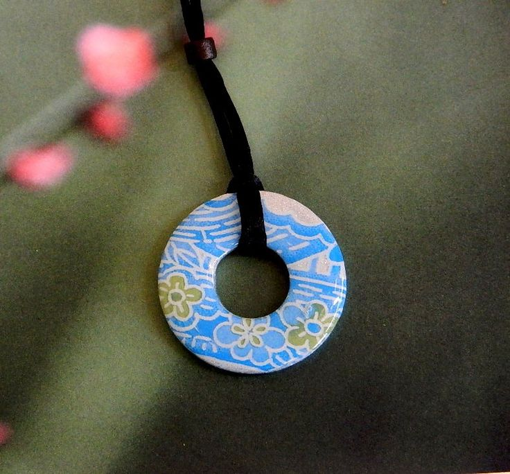 Japanese paper : Pendant and chain Limited edition jewellery and artwork by top Australian designers.  Great  gifts for special occasions - Mother's Day, Birthday, Anniversaries, Teacher gifts. shop at thelittledistinctions.com#gifts #giftsforher #washerpendant #upcycled #jewellery #japaneseinspired #australiandesign #pinkflowers #blue #environmentallyfriendly #limitededition #teachersgifts #mumgifts #mothersday #grandparents #teenagegifts