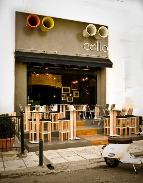 Cello in greece rustic cafe design by studio lime 03 for Cafe design exterior
