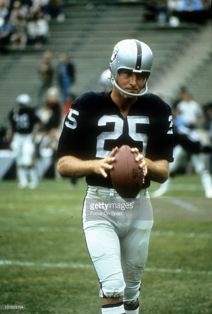 OAKLAND, CA - CIRCA 1970's: Wide Receiver Fred Biletnikoff #25 of the Oakland Raiders on the field in this portrait circa early 1970's before an NFL football game at the Oakland Coliseum in Oakland, California. Biletnikoff played for the Raiders/ from 1965-78.