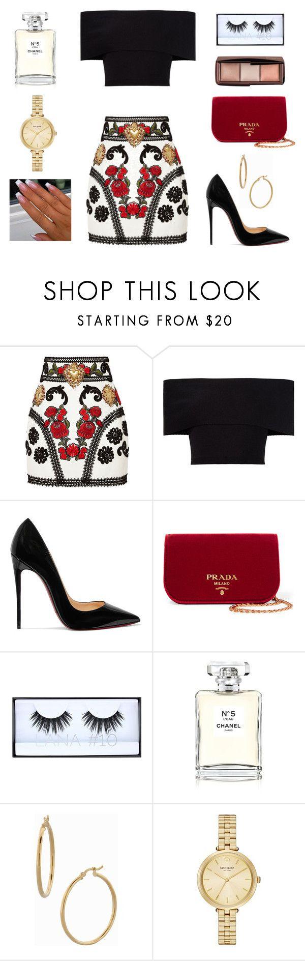"""✨"" by oliviacarolineantonia ❤ liked on Polyvore featuring Dolce&Gabbana, Rosetta Getty, Christian Louboutin, Prada, Huda Beauty, Chanel, Bony Levy and Kate Spade"