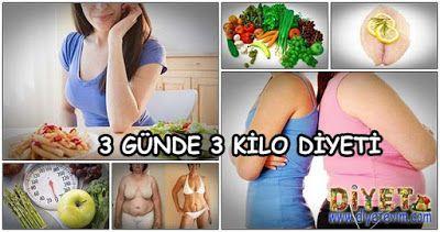3 günde 3 kilo verme diyet listesi