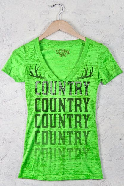 Neon Green - Juniors Country Girl® Sequins Country Deep V Neck Burnout Tee