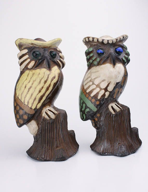 70's Ceramic Owls in my Etsy shop https://www.etsy.com/ca/listing/594415489/70s-ceramic-owls-with-marble-eyes-set-of