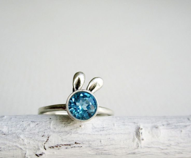 Blue Bunny Ring Blue Topaz and Sterling Silver by EveryBearJewel, $86.00 Canadian made :)