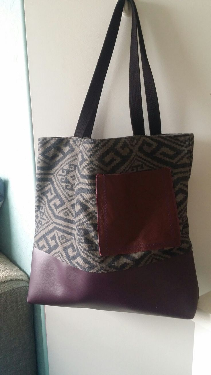 Aztec block tote leather pocket