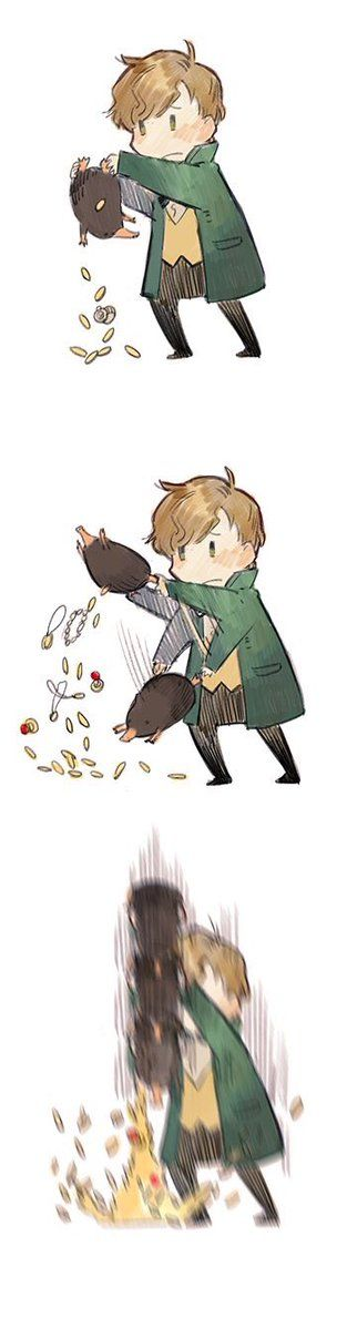 Newt Scamander and his sneaky little Niffler. I love how the Niffler's pouch is magical and can hold more than it appears that it can. (Geek Stuff Book)