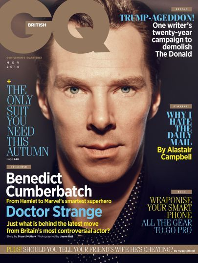 Benedict Cumberbatch interview in BRITISH GQ (November 2016) about SHERLOCK, DOCTOR STRANGE, and more.