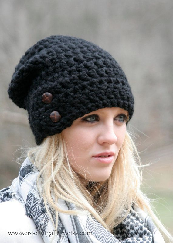 Slouchy Beanie Hat With Two Buttons Chunky Crochet Hat  / The Dartmoor / Slouchy Hat Beanie Black