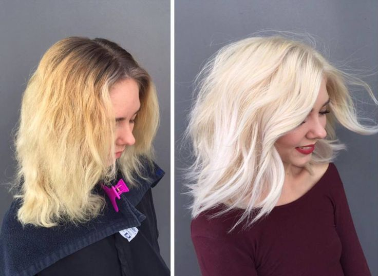 Color correction of the day! 13 hours, some Olaplex, and Wella Professionals later Bria Anne Beauty transformed her client into this radiant and shiny platinum blonde