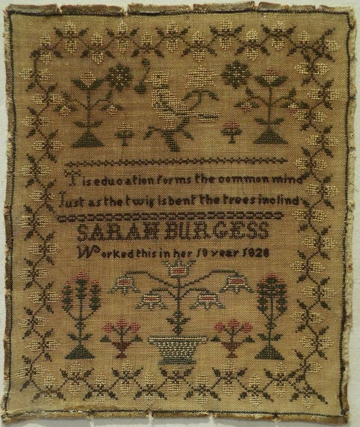 Early 19th Century Bird Floral Motif Sampler by Sarah Burgess Aged 10 1828 | eBay