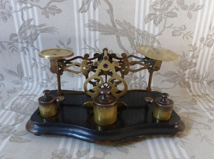 Antique French Scales - Napoleon III Scales  French Scales - Pierced Brass Scales and Weights - French Antique Postal Scales  Brass Fretwork by LeTrucVintage on Etsy