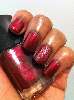 E.L.F. Red Velvet with OPI Excuse Moi as an accent nail