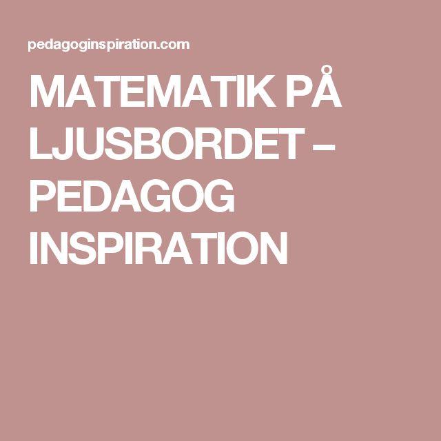 MATEMATIK PÅ LJUSBORDET – PEDAGOG INSPIRATION