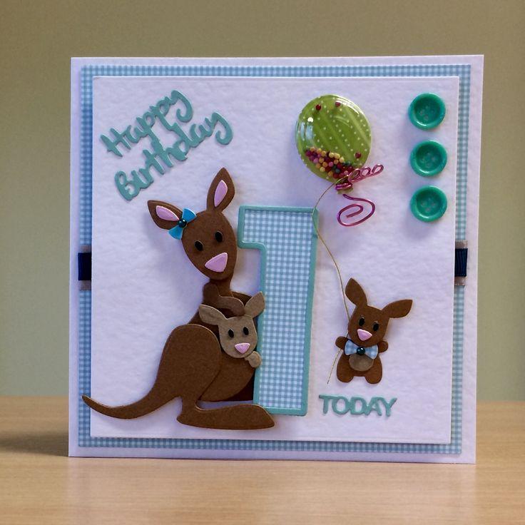1st Birthday Card, Handmade - Marianne kangaroo die. For more of my cards please visit CraftyCardStudio on Etsy.com.