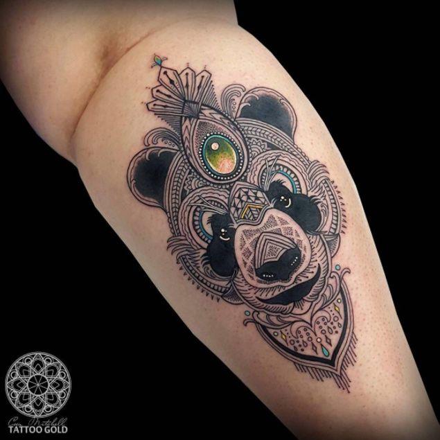 Detailed Panda Tattoo Design by Coen Mitchell