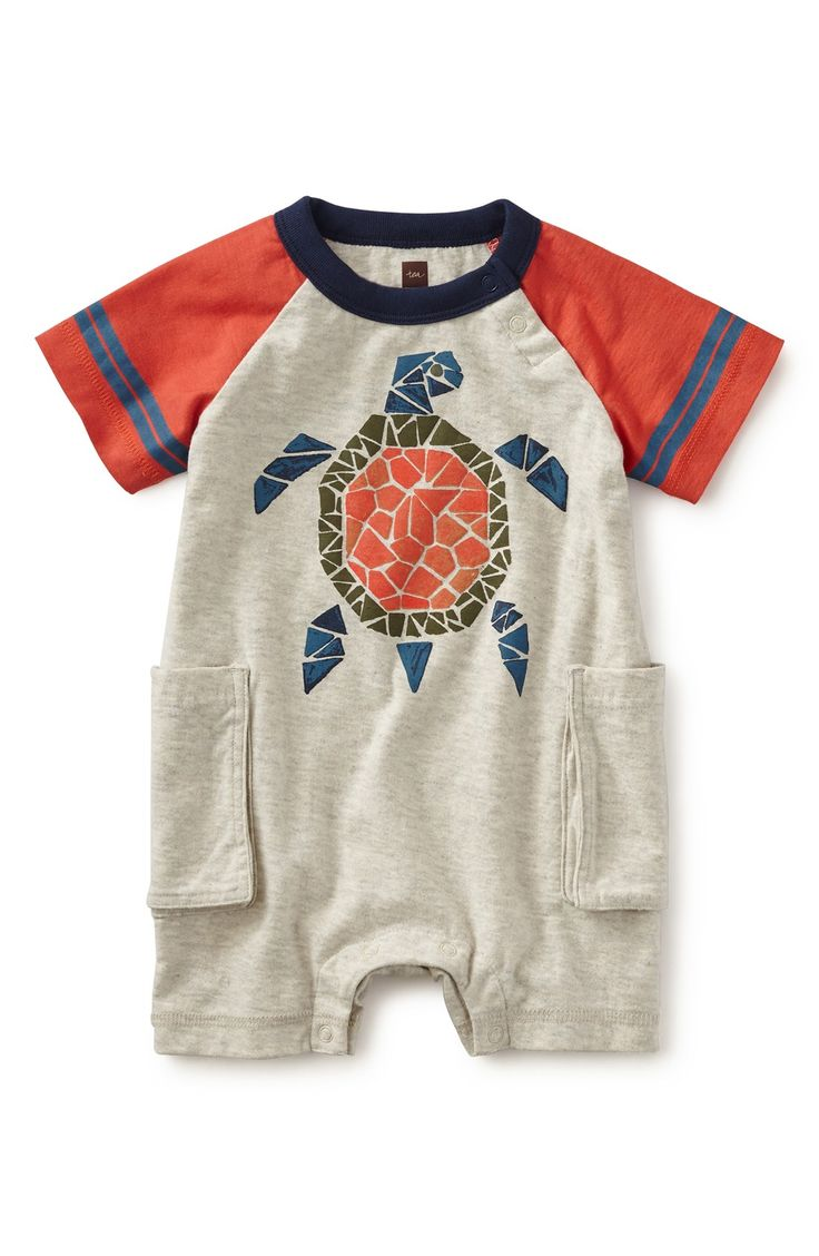 Tea Collection 'Tartaruga' Cargo Romper (Baby Boys)