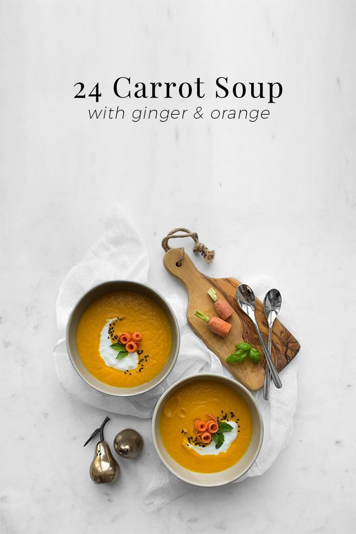 We've channeled the bright and golden attributes of the sun into this 24 Carrot Soup enlightened with freshly grated ginger and the juice of a navel orange.