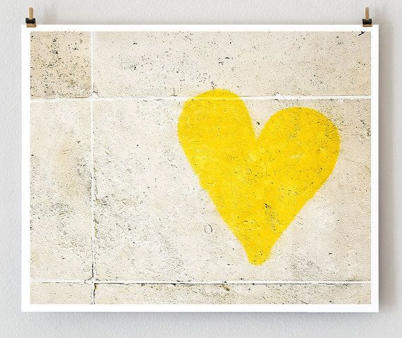 Paris Graffiti, Yellow Heart Art -- Paris Photography, French Art Prints, Heart Wall Art - Dorm Decor. $28.00, via Etsy.
