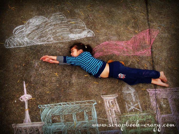 Crazy about mini albums: Sidewalk Chalk Photograph experiment