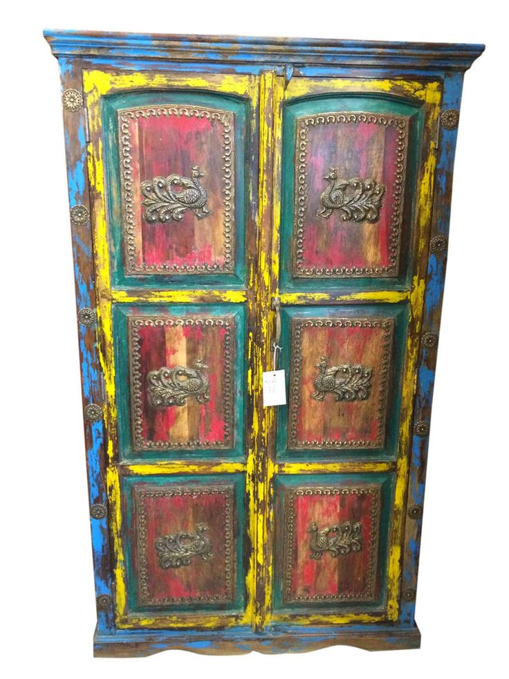 STORAGE CABINET ARMOIRE CARVED WOOD TEAL PATINA INDIA WOODEN FURNITURE #wood