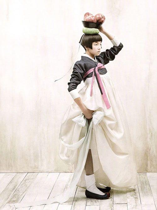 white + darkest grey + light pink : Kim Kyung Soo for Vogue Korea.