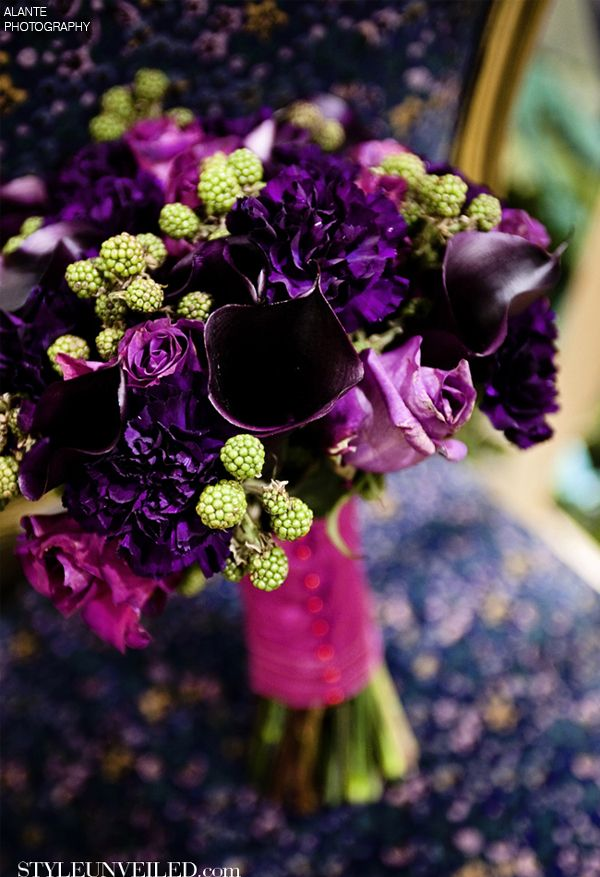 Style Unveiled - Style Unveiled | A Wedding Blog - Plum Bouquet with GreenRaspberries