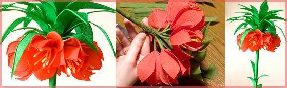 Cesarska Korona - sposób wykonania. | Kwiaty z bibuły | Rękodzieło | Bibułkarstwo