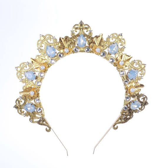 Gold Opal Tiara, Bridal Crown Swarovski Crystal light Blue Bridal Crown Opal Crystal Gold Baroque Tiara Circlet Tiara Reign Bridal Crown  Fantastic hair accessories for weddings, prom, parties or other special occasions.  - Handmade - Size: 4 cm (1.5) high. - Tiara (open front the back) flexible. - Earrings pierced - **100% FULL MONEY BACK GUARANTEE** Unlike others sellers, WE STAND behind our brand ILoveCrowns and provide 100% FULL MONEY BACK guarantee, if, For Whatever Reason, You dont…