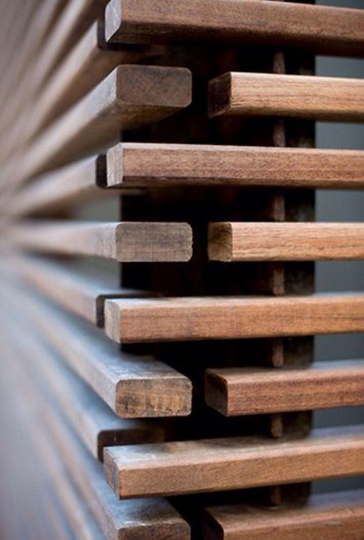 Ipe wooden slats screening detail