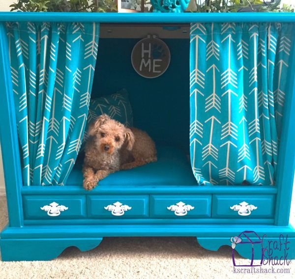Give your little pup some privacy with a cozy dog fortress — err, bed — instead. Make it complete with a set of curtains and pillow to match. Get the tutorial at K's Craft Shack »  - GoodHousekeeping.com