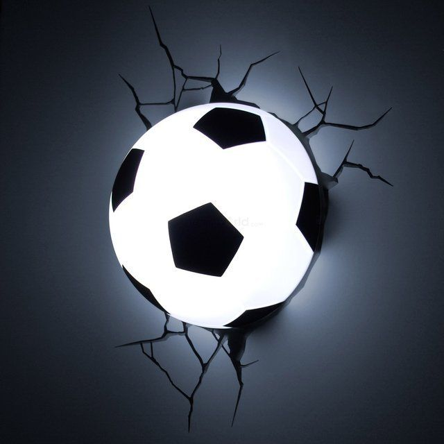Soccer Ball 3D Deco Light / The Soccer Ball 3D Deco Light from 3DLightFX is a nightlight that comes with a cracked wall decal. http://thegadgetflow.com/portfolio/soccer-ball-3d-deco-light/