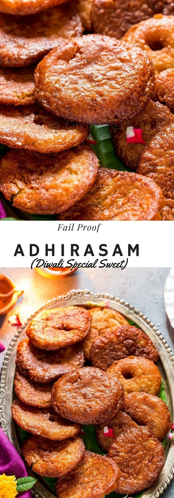 Adhirasam Recipe | Diwali Special Sweet Adhirasam is a old traditional South Indian special sweet dish. This recipe has been passed down for generations. A rich sweet that is made of freshly ground rice flour and jaggery, it's very addictive and very delicious. http://currytrail.in