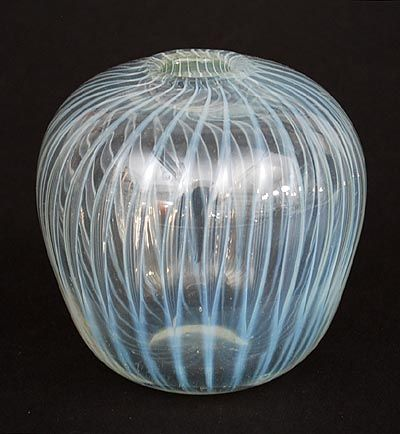 Found on www.botterweg.com - Glass Serica vase no.44 with stretched airbubbles design A.D.Copier 1935 executed by Glasfabriek Leerdam / the Netherlands