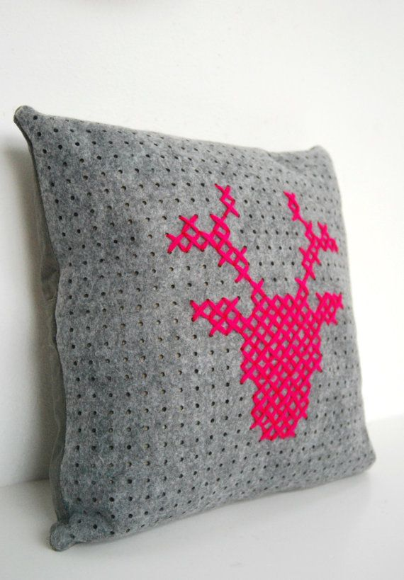 Grey Square holes felt Pillowcase with deer by DeliriumDecor