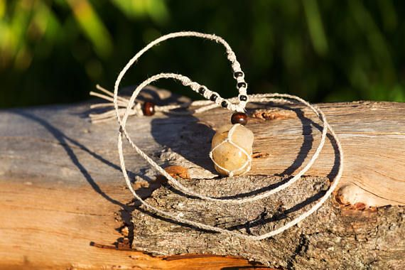 Crystal Macrame Necklace  Rutilated Quartz