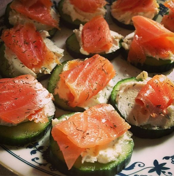 Lox & Cream Cheese Bites Sliced Cucumber - Reduced Fat Cream Cheese mixed with some dill, garlic salt, and onion powder to taste Topped with lox