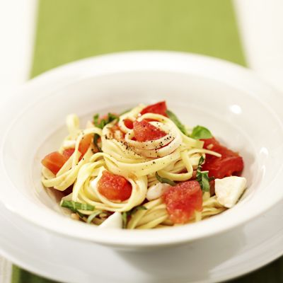Linguine Caprese--plum tomatoes sauteed in garlic and olive oil, then ...
