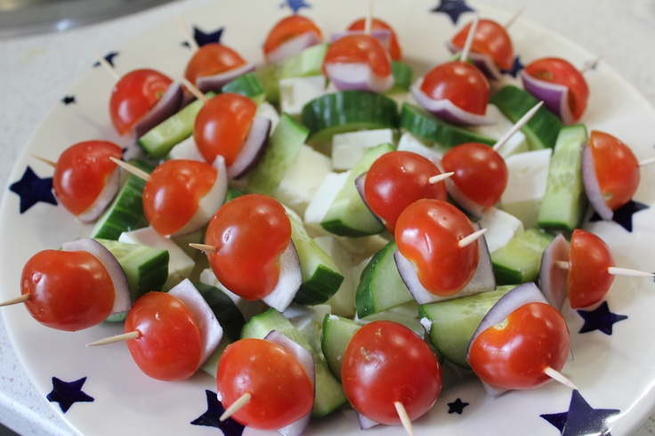 Greek salad mini canapes wedding food pinterest for Hot canape ideas