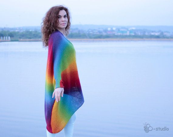 Cardigan lungo a arcobaleno kimono Lana giacca donna cappotto