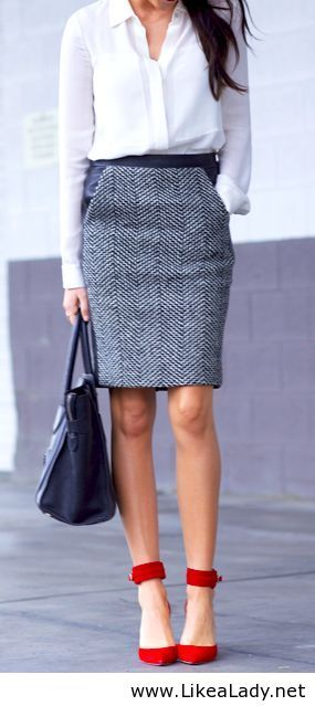 Office Chic. Pencil skirt with punch and pop of color heels.