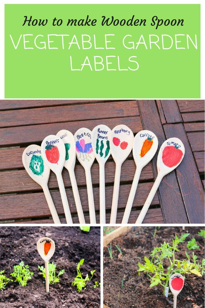 How to make Wooden Spoon vegetable garden labels with thimble and twig. Children's vegetable gardens. Creative garden ideas for children.
