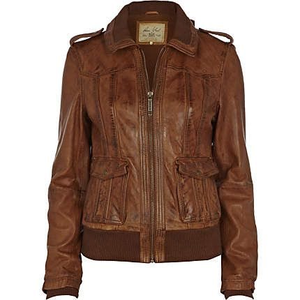 brown bomber jacket - leather / non-leather jackets - coats / jackets - women - River Island